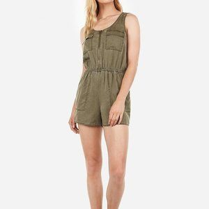 Express Zip Front Twill Utility Short Romper L
